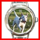 Bull Terrier Dog Pet Animal Round Italian Charm Wrist Watch 365