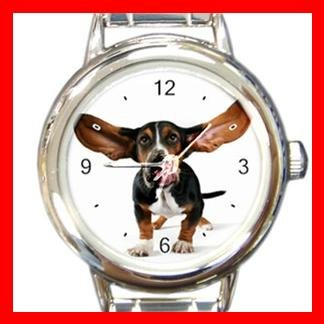 Basset Hound Dog Pet Animal Round Italian Charm Wrist Watch 371