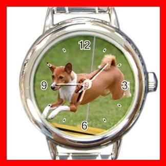 Basenji Dog Pet Animal Round Italian Charm Wrist Watch 373