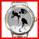 Bald Eagles Birds Round Italian Charm Wrist Watch 375