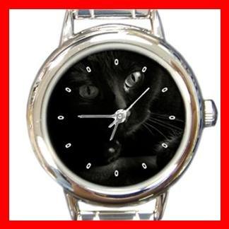 Black Cat Kitty Pet Round Italian Charm Wrist Watch 376