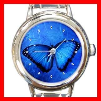 Butterfly in Blue Light Round Italian Charm Wrist Watch 377