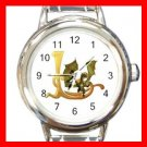Dragon Letter L Fantasy Round Italian Charm Wrist Watch 380