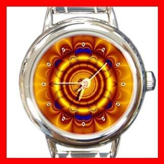 Golden Circle Flower Art Round Italian Charm Wrist Watch 381