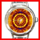 Golden Circle Flower Art Round Italian Charm Wrist Watch 381