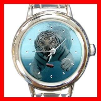 Tiger Under Water Animal Round Italian Charm Wrist Watch 384