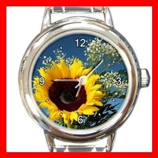 Sunflower Flower Round Italian Charm Wrist Watch 385