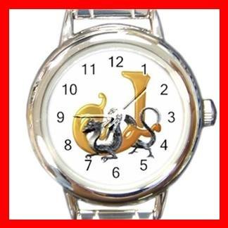 Dragon Letter J Fantasy Round Italian Charm Wrist Watch 401