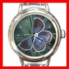 Female Butterfly Hobby Round Italian Charm Wrist Watch 402