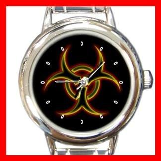 Biohazard Golden Bio Hazard Round Italian Charm Wrist Watch 408