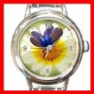 Blue Butterfly On Flower Round Italian Charm Wrist Watch 412