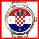 Croatia Flag Pan Slavic Round Italian Charm Wrist Watch 413