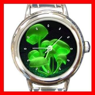 Green Shroom Mushroom Hobby Round Italian Charm Wrist Watch 414
