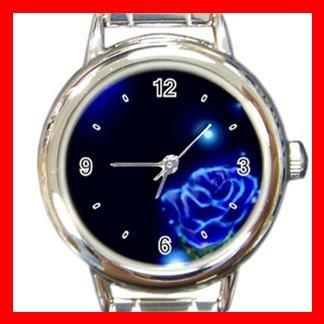 Blue Rose Flower Stylish Round Italian Charm Wrist Watch 419