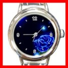 Blue Rose Flower Stylish Round Italian Charm Wrist Watch 419