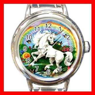 Unicorn Rainbow Flower Myth Round Italian Charm Wrist Watch 421