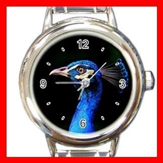 Blue Peacock Head Bird Fun Round Italian Charm Wrist Watch 422