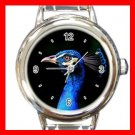 Blue Peacock Head Bird Fun Round Italian Charm Wrist Watch 422