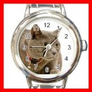 Chartreux Cat Pet Aniaml Round Italian Charm Wrist Watch 424