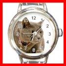 Chartreux Cat Pet Aniaml Round Italian Charm Wrist Watch 424