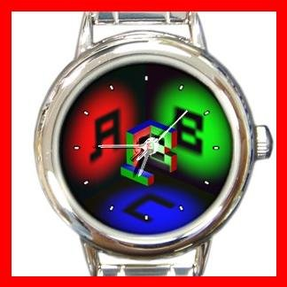 3D Ambigram Letter ABC Fun Round Italian Charm Wrist Watch 427