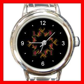 Love Hate Quad Ambigram Fun Round Italian Charm Wrist Watch 428