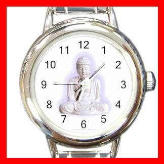 White Buddha Buddhism Faith Round Italian Charm Wrist Watch 429