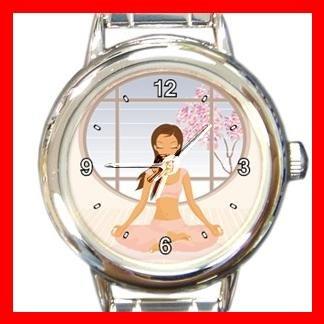 Yoga Girl Gym Sports Game Round Italian Charm Wrist Watch 430