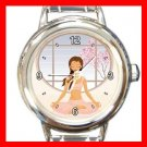 Yoga Girl Gym Sports Game Round Italian Charm Wrist Watch 430