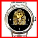 King Tut Tutenkh Egyptian Round Italian Charm Wrist Watch 432