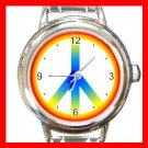 Tie Dye Peace Sign Hobby Fun Round Italian Charm Wrist Watch 439