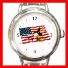 American Flag Witch Round Italian Charm Wrist Watch 458