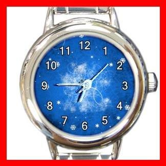 Blue Snow Flake Christmas Round Italian Charm Wrist Watch 459