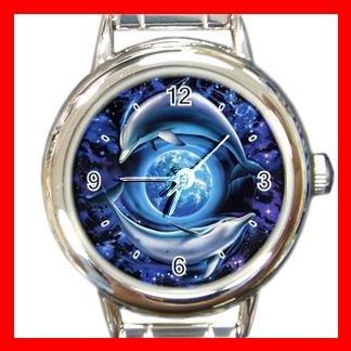 Dolphins Flying Earth Round Italian Charm Wrist Watch 460