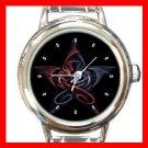 Wicca Pentagram Dragons Round Italian Charm Wrist Watch 464