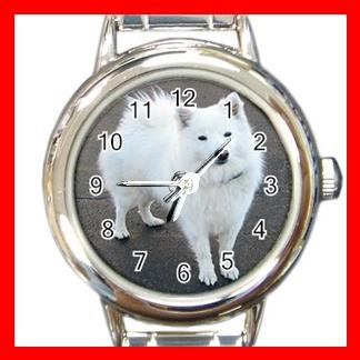 American Eskimo Dog Pet Round Italian Charm Wrist Watch 466