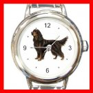 Gordon Setter Dog Pet Round Italian Charm Wrist Watch 470