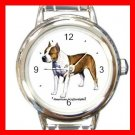 American Staffordshire Dog Pet Round Italian Charm Wrist Watch 471