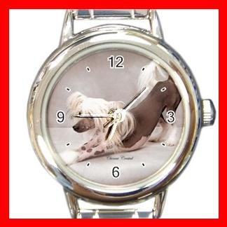 Chinese Crested Dog Pet Round Italian Charm Wrist Watch 474