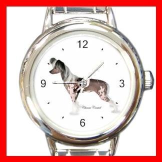 Chinese Crested Dog Pet Round Italian Charm Wrist Watch 475