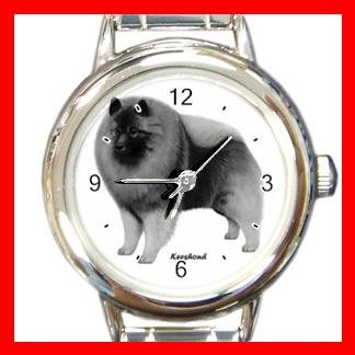 Keeshond Dog Pet Round Italian Charm Wrist Watch 480