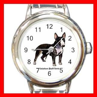 Miniature Bull Terrie Dog Pet Round Italian Charm Wrist Watch 482