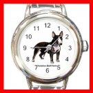 Miniature Bull Terrie Dog Pet Round Italian Charm Wrist Watch 482