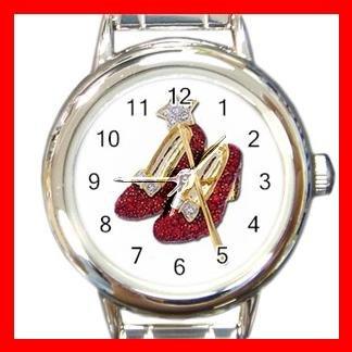 Wizard of Oz Ruby Slipper Round Italian Charm Wrist Watch 484