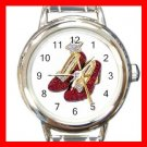 Wizard of Oz Ruby Slipper Round Italian Charm Wrist Watch 484