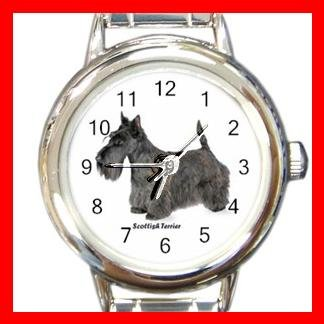 Scottish Terrier Dog Pet Round Italian Charm Wrist Watch 486