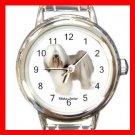 Tibetan Terrier Dog Pet Round Italian Charm Wrist Watch 487