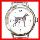 Weimaraner Dog Pet Round Italian Charm Wrist Watch 488