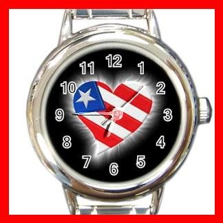 AMERICAN FLAG HEART Patriotic Round Italian Charm Wrist Watch 490