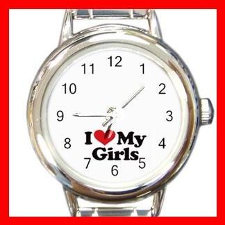 I LOVE MY GIRLS DAUGHTER Round Italian Charm Wrist Watch 493